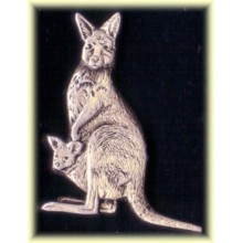 Lapel Pewter Pin - Kangaroo with Joey