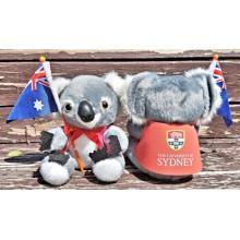 Corporate koala soft toys in branded jackets
