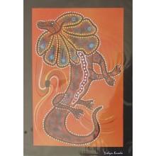 Aboriginal Art Print - Frill Necked Lizard