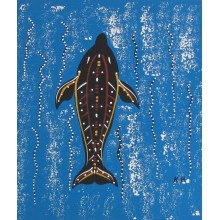 Dolphin | Aboriginal Art Hand Painted Canvas - 36x30cm
