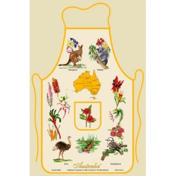 Souvenir Kitchen Apron - Australian Flora and Fauna