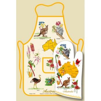 Apron Oven Mitt Set  - Australian Flora and Fauna
