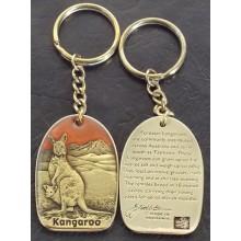 Kangaroo Keyring Brass and Enamel