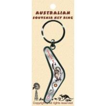 Boomerang Key Ring - Aboriginal Art Kangaroo Hopping