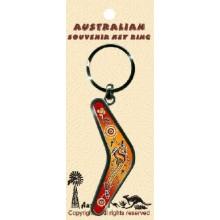 Boomerang Key Ring - Aboriginal Art Kangaroo Flying