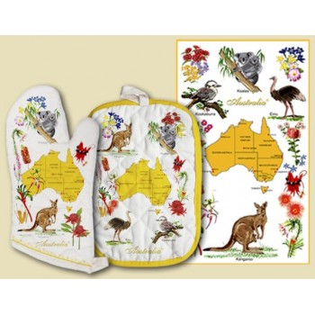 Souvenir Hot Pot and Tea Towel Set - Australian Flora and Fauna
