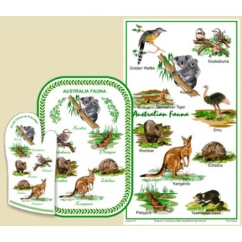 Souvenir Hot Pot and Tea Towel Set - Australian Fauna
