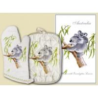 Souvenir Hot Pot and Tea Towel Set - Koala with Baby