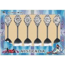 Australian Souvenir Spoons. A Set of Six Spoons in Contemporary Art Range