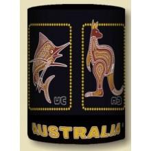 Australian Souvenir Stubby Holder - Dot Art Australian Animals