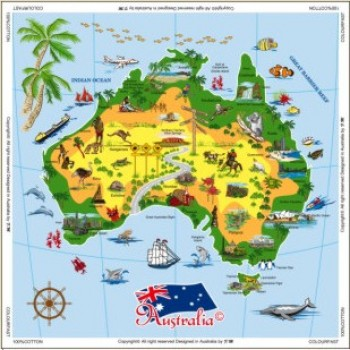 Souvenir Table Cloth - Map of Australia
