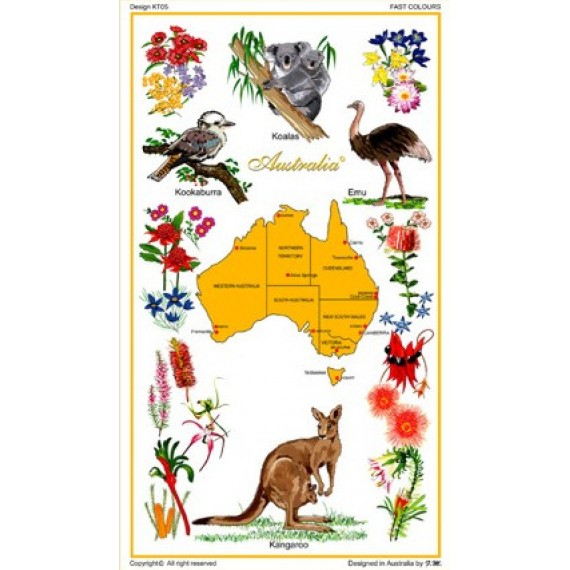 Souvenir Tea Towel Australian Flora And Fauna