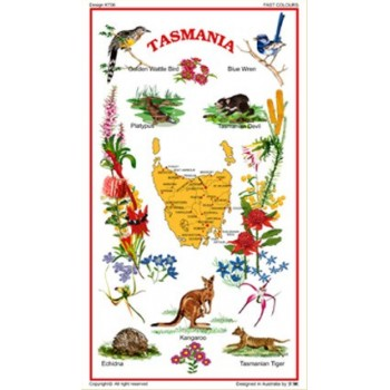 Australian Souvenir Tea Towel - Tasmania and Tasmanian Flora