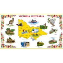 Australian Souvenir Tea Towel - Victoria