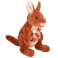 Kangaroo Soft Toy with Joey. Rooby Red - 35cm